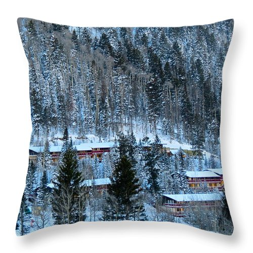 Taos Ski Valley Throw Pillow featuring the photograph Snow Cabins by LeLa Becker