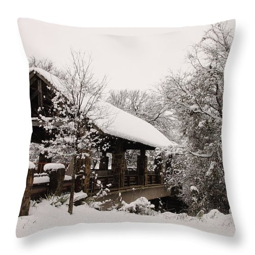 Bridge Throw Pillow featuring the photograph Snow Covered Bridge by Robert Frederick