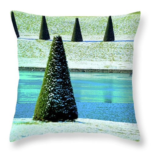 Tranquility Throw Pillow featuring the photograph Snow Covered Garden by Martial Colomb
