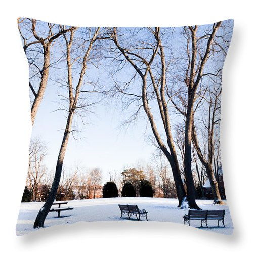 Gaithersburg Throw Pillow featuring the photograph Snow Covered Green by Thomas Marchessault