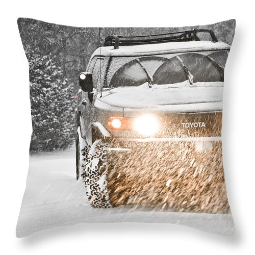 Mud Throw Pillow featuring the photograph Snow Cruiser 1 by Jt PhotoDesign