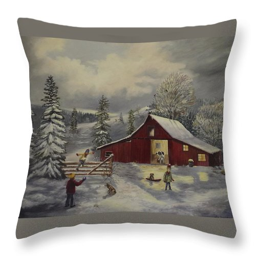 Barn Throw Pillow featuring the painting Snow Day  by Wanda Dansereau