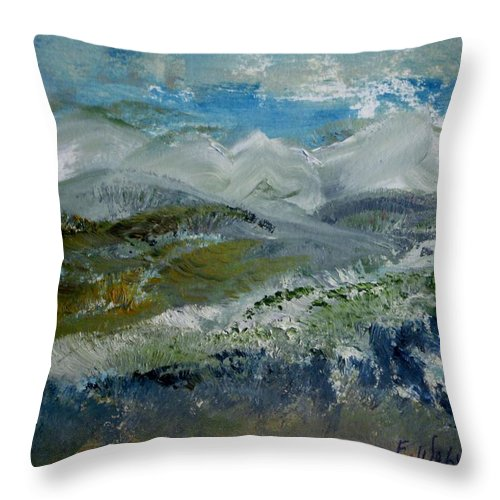 Mountain Throw Pillow featuring the painting Snow Drifts On The Hill by Edward Wolverton