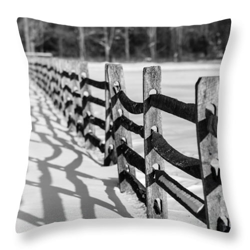 Fence Throw Pillow featuring the photograph Snow Fence by Scott Hafer