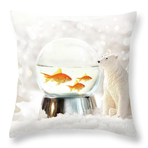 Background Throw Pillow featuring the photograph Snow Globe In Winter Scene by Sandra Cunningham