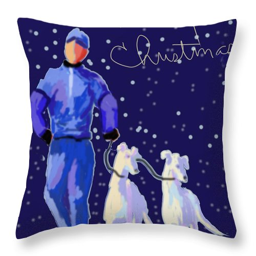 Greyhound Throw Pillow featuring the digital art Snow Greys by Terry Chacon