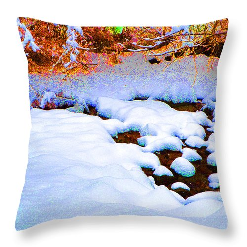 Snow Throw Pillow featuring the digital art Snow In Color by Eva Kaufman