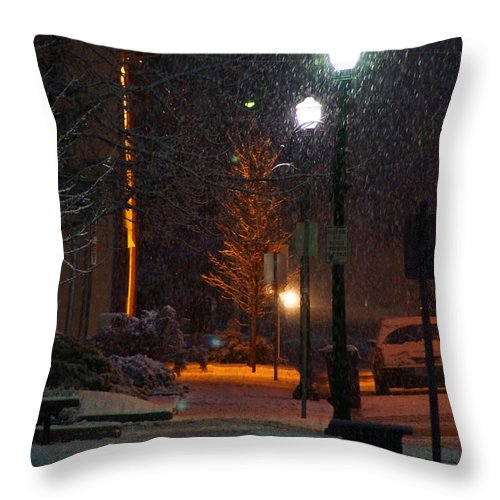 Snow Throw Pillow featuring the photograph Snow In Downtown Grants Pass - 5th Street by Mick Anderson