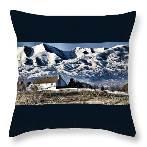 Scene Of Utah Mountains With Snow Throw Pillow featuring the photograph Snow In The Mountains by Susan Garren