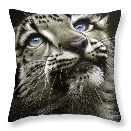 Snow Leopard Cub Throw Pillow featuring the painting Snow Leopard Cub by Jurek Zamoyski