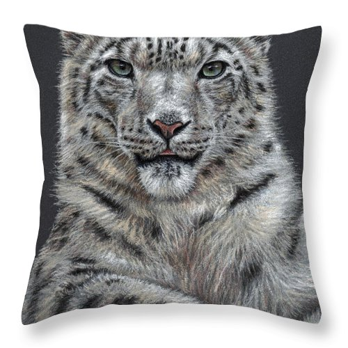 Snow Throw Pillow featuring the pastel Snow Leopard by Nicole Zeug