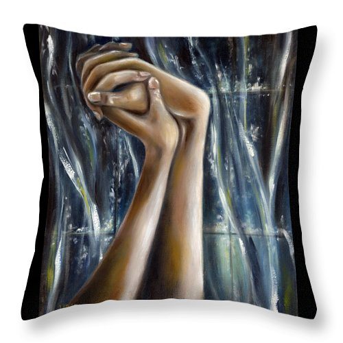 Blue Throw Pillow featuring the painting Snow Light by Hiroko Sakai