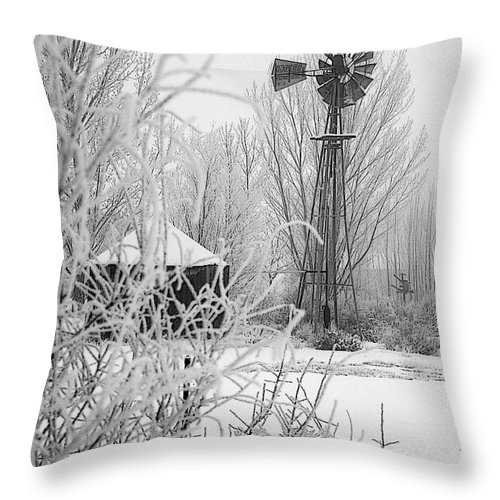 Snow Throw Pillow featuring the photograph Snow Mill by Laurie Purcell
