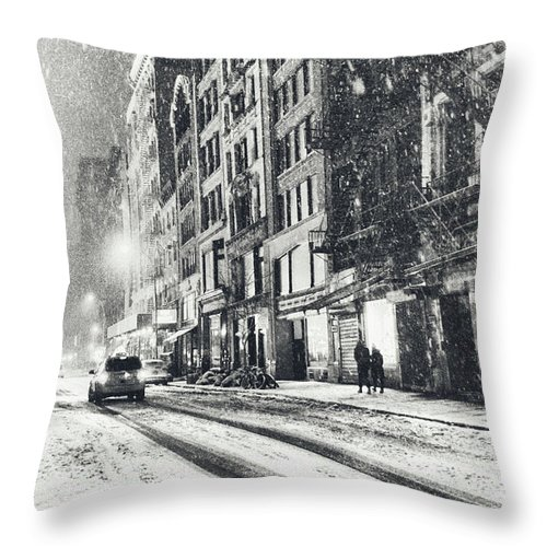 New York City Throw Pillow featuring the photograph Snow - New York City - Winter Night by Vivienne Gucwa