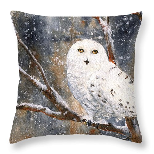 Wildlife Throw Pillow featuring the painting Snow Owl - Canada by June Hunt