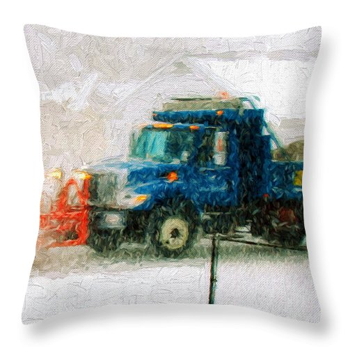 Andee Design Snow Plow Throw Pillow featuring the photograph Snow Plow Painterly by Andee Design