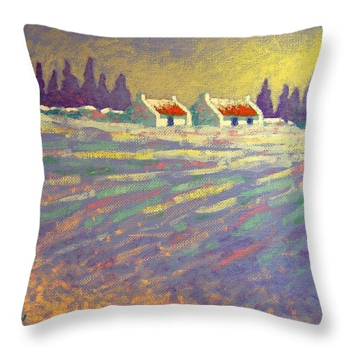Ireland Throw Pillow featuring the painting Snow Scape County Wicklow by John Nolan
