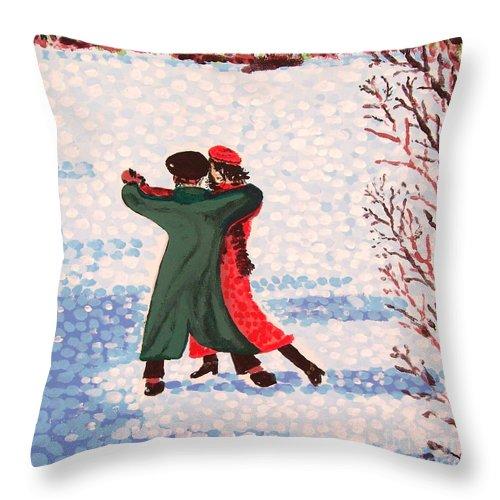 Snow Throw Pillow featuring the painting Snow Tango by Alan Hogan