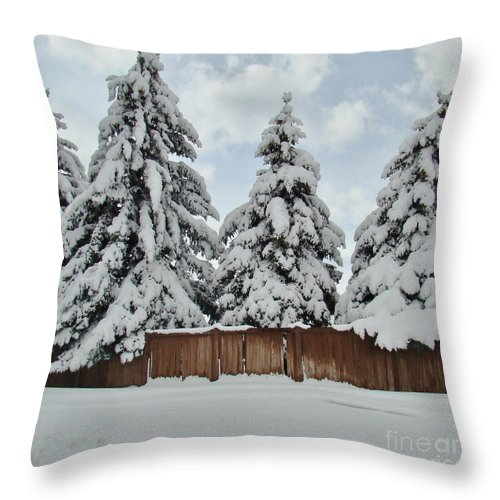 Snow Throw Pillow featuring the photograph Snow Trees by Southwindow Eugenia Rey-Guerra