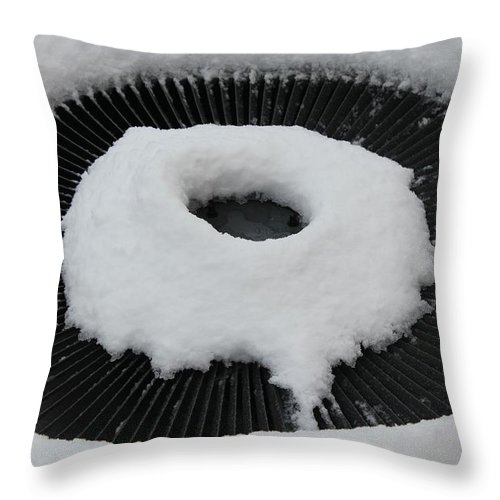Snow Vent Abstract Throw Pillow featuring the photograph Snow Vent Abstract by Barbara Griffin