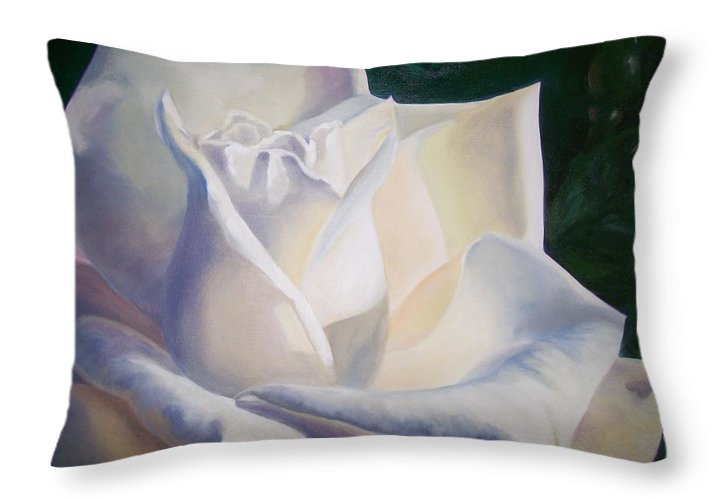 Close Up Floral White Rose Throw Pillow featuring the painting Snow White by Ellen Ebert