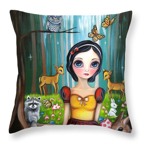 Snow Throw Pillow featuring the painting Snow White In The Enchanted Forest by Jaz Higgins
