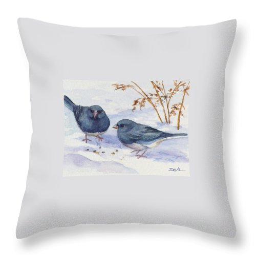 Birds Throw Pillow featuring the painting Snowbirds by Janet Zeh