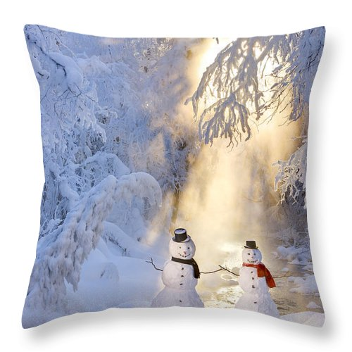 Snowman Couple Standing Next Throw Pillow for Sale by Kevin Smith