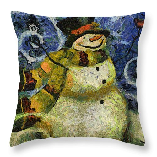 Winter Throw Pillow featuring the photograph Snowman Photo Art 17 by Thomas Woolworth