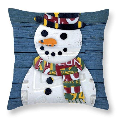Snowman Throw Pillow featuring the mixed media Snowman Winter Fun License Plate Art by Design Turnpike
