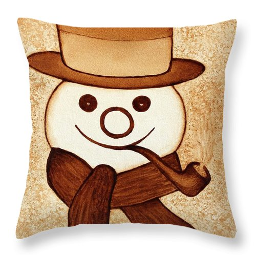 Abstract Snowman Throw Pillow featuring the painting Snowman With Pipe And Topper Original Coffee Painting by Georgeta Blanaru