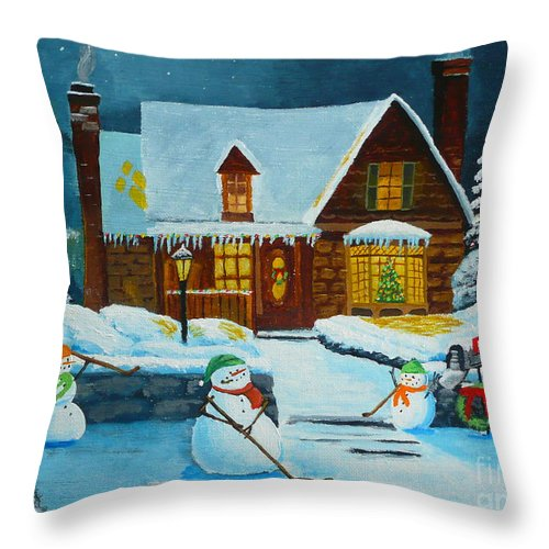 Christmas Throw Pillow featuring the painting Snowmans Hockey by Anthony Dunphy