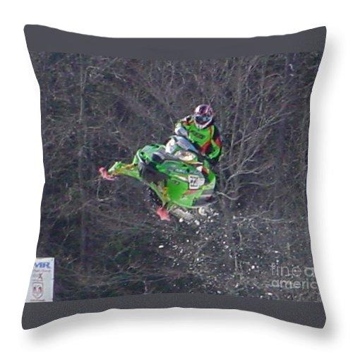 Snow Throw Pillow featuring the photograph Snowmobile Air Time by Nancie Johnson
