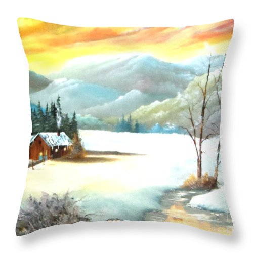 Snow Throw Pillow featuring the painting Snowy Country by Amede Doualle