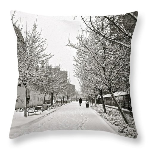 Madrid Throw Pillow featuring the photograph Snowy Day In Madrid by Galexa Ch
