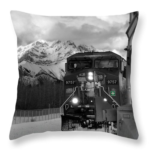 Rocky Mountains Throw Pillow featuring the photograph Snowy Engine Through The Rockies by Lisa Knechtel
