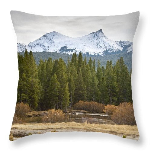 Snow Throw Pillow featuring the photograph Snowy Fall In Yosemite by David Millenheft