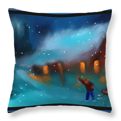 Snow Throw Pillow featuring the painting Snowy Fun by Steven Lebron Langston