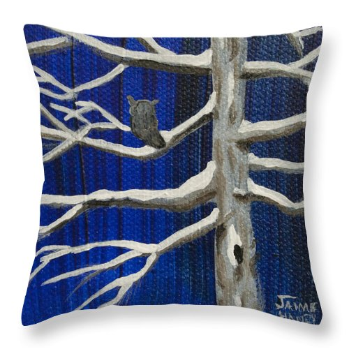 Owl Throw Pillow featuring the painting Snowy Night by Jaime Haney