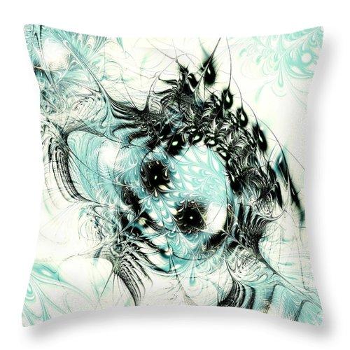Computer Throw Pillow featuring the digital art Snowy Owl by Anastasiya Malakhova