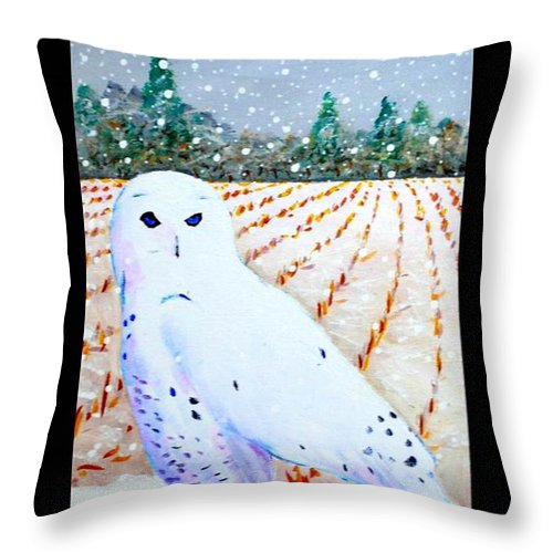 Snowy Owl Throw Pillow featuring the painting Snowy Owl by Jim Harris