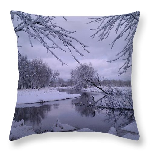 Snow Throw Pillow featuring the photograph Snowy River Bend by Joshua Thompson