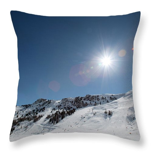 Scenics Throw Pillow featuring the photograph Snowy Ski Resort by Chris Tobin