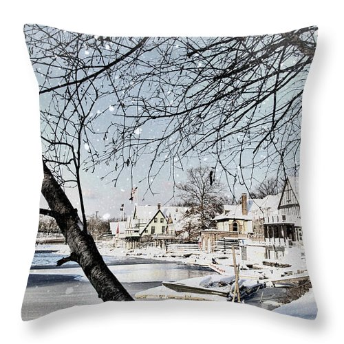 Boathouse Row Throw Pillow featuring the photograph Snowy View Of Boathouserow by Alice Gipson