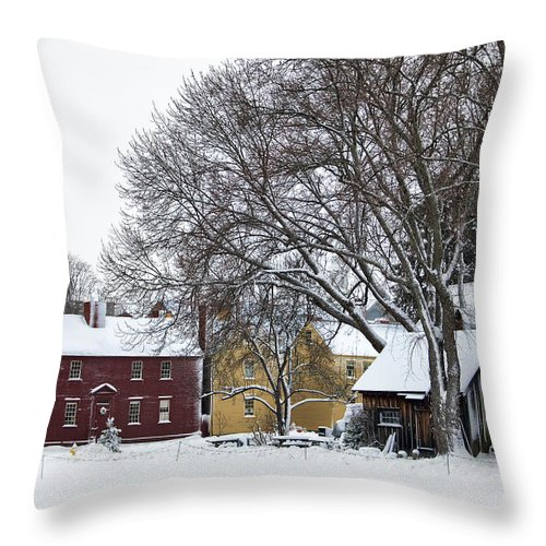 Snowy Throw Pillow featuring the photograph Snowy Village by Eric Gendron