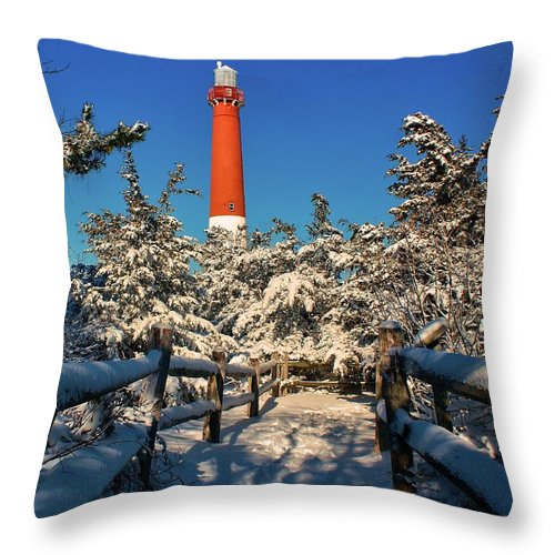 Barnegat Throw Pillow featuring the photograph Snowy Woods At Barnegat Light by Nick Zelinsky
