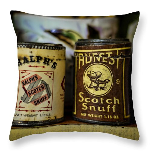 Snuff Throw Pillow featuring the photograph Snuff Tins by Heather Applegate