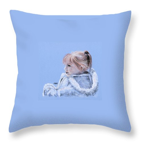 Portrait Throw Pillow featuring the drawing Snug As A Bug In A Rug by Michael Beckett