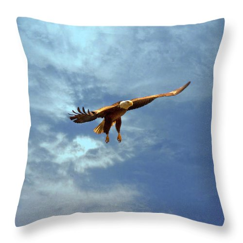 Eagle Throw Pillow featuring the photograph Soaring by Scott Pellegrin