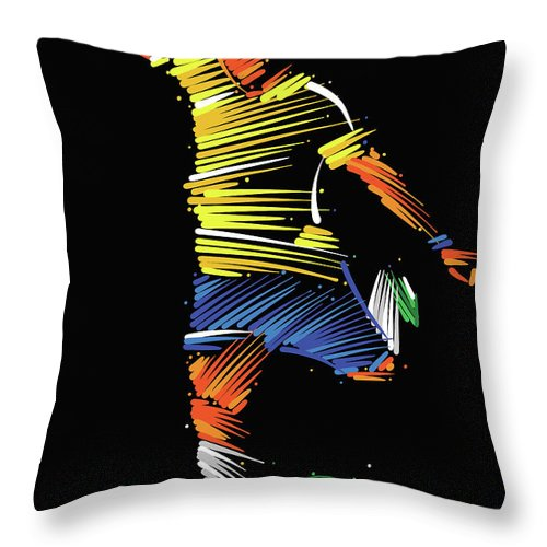 Goal Throw Pillow featuring the digital art Soccer Player Running To Kick The Ball by Dimitrius Ramos